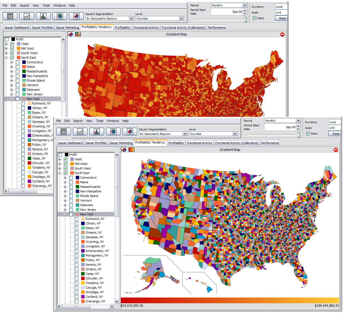 EKnowlogies CardProfit Profit Measurement For The Credit Card - Us maps that can be color coded